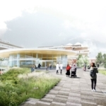 Architect tekening AMC entreeluifel Amsterdam buitenaanzicht