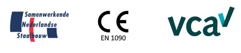 Logo CE, VCA en Samenwerkende Nederlandse Staalbouw